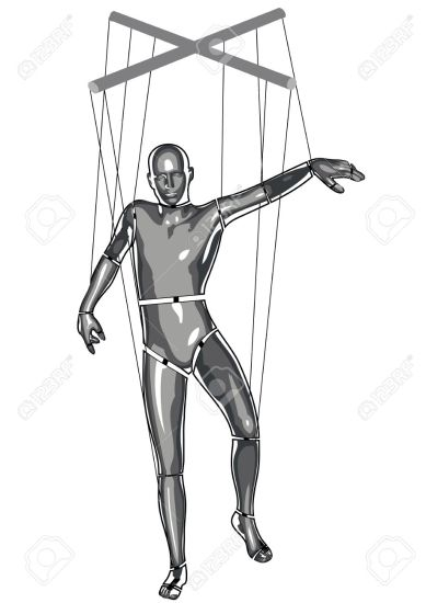 marionette puppeteer isolated on a white background